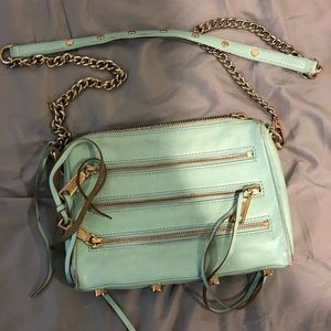 REBBECA MINKOFF light blue triple zipper crossbody